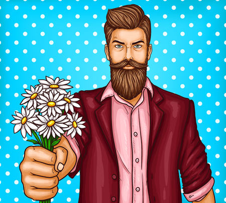 Vector pop art illustration of a brutal bearded man, macho is holding out a bouquet of chamomiles