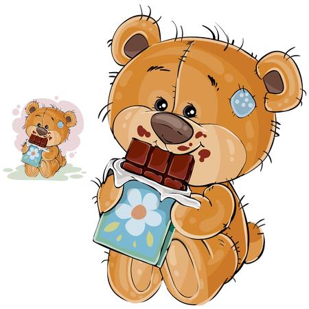茶色のテディー ・ ベアの甘党前足でチョコレートのバーを保持して、それを食べるのベクター イラストです。印刷、テンプレート、デザイン要素