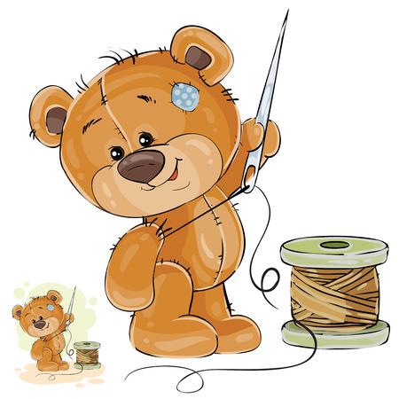 Vector Illustration eines braunen Teddybärschneiders, der in seiner Tatzenadel und -faden, Näharbeit hält. Druck, Vorlage, Designelement. Vektorgrafik