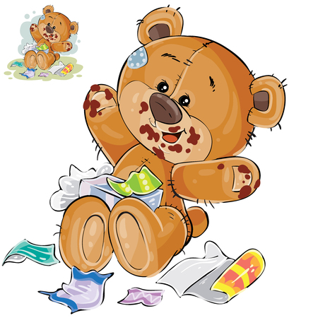 Vector illustration of a brown teddy bear sweet tooth ate a lot of candy and now sits smeared in chocolate. Print, template, design element Illustration