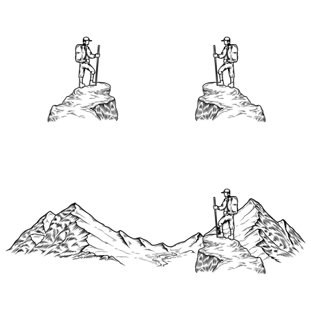 alpinism: Set of hand drawn vector illustrations the mountains with a tourist in engraving style