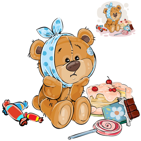 Vector illustration of a brown teddy bear sweet tooth ate a lot of sweets and now he has a toothache. Print, template, design element Фото со стока