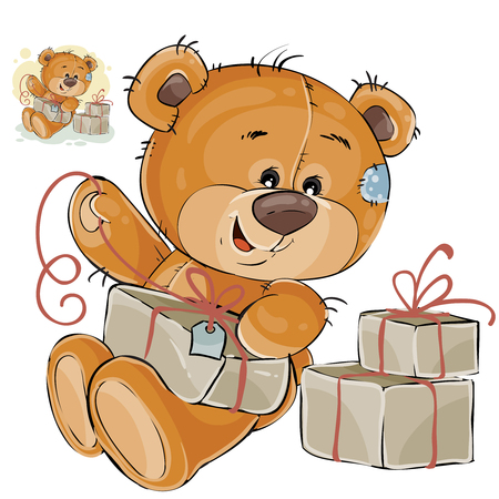 postcard box: Vector illustration of a brown teddy bear tie a packing box with a cord. Print, template, design element