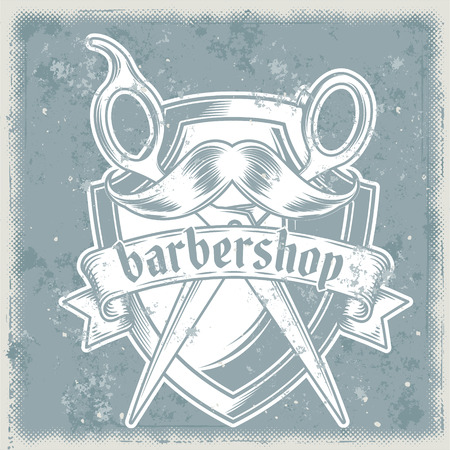 Vector vintage illustration of badge, sticker, sign with heraldic shield, hairdressing scissors and mustache for barbershop made in grunge style. Print, template, design element