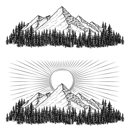 Set of hand drawn vector illustrations the mountains with a coniferous forest on them and the sun in engraving style