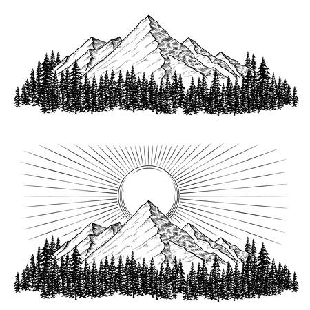 Zestaw ręcznie rysowane ilustracji wektorowych góry z lasu iglastego na nich i słońca w stylu grawerowania Ilustracje wektorowe