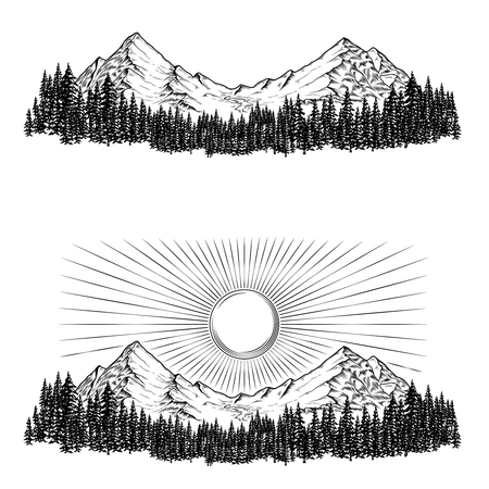 alpinism: Set of hand drawn vector illustrations the mountains with a coniferous forest on them and the sun in engraving style