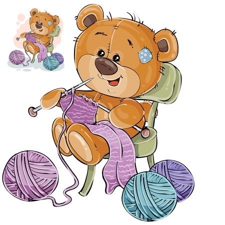 A Vector illustration of a brown teddy bear sitting on a chair and knitting something with knitting needles, handicrafts. Print, template, design element.
