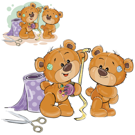 Vector illustration of a brown teddy bear tailor measuring another teddy bear measuring tape, needlework. Print, template, design element.