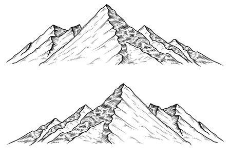 alpinism: Set of hand drawn vector illustrations the mountains in engraving style