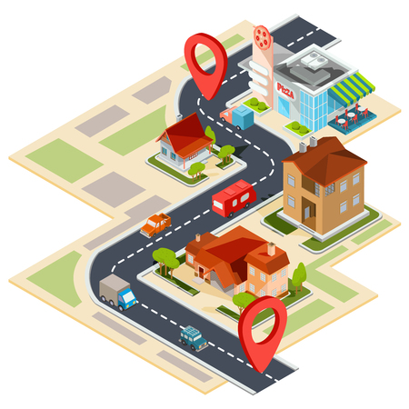 Vector illustration of the navigation map with gps icons. Image of a paper map with red pin pointers, 3D houses, cars, trees