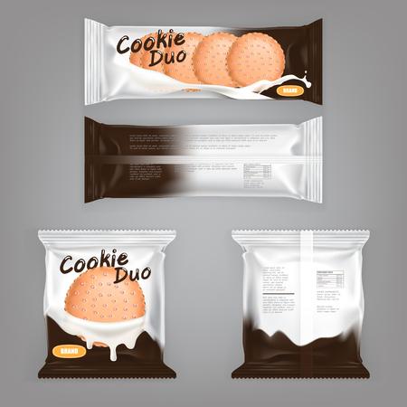 Vectorillustratie van een pakketontwerp met melk-vlekken voor een sandwichkoekje. Een pakje folie met heerlijk koekje gevuld met melkchocolade Stockfoto - 79272068