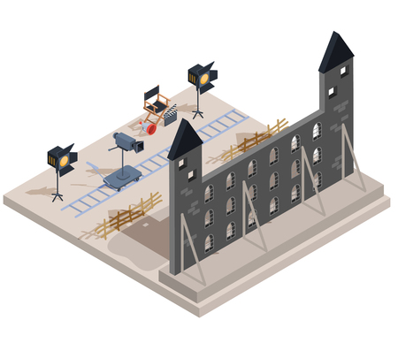 Vector isometric illustration of a film set with a set of filmmaking elements - the scenery of an old castle, a camera, lighting equipment, a director s chair, a loudspeaker, clapper Ilustração