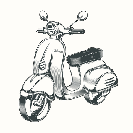 Vector black and white illustration in the style of engraving - scooter, moped drawn in ink