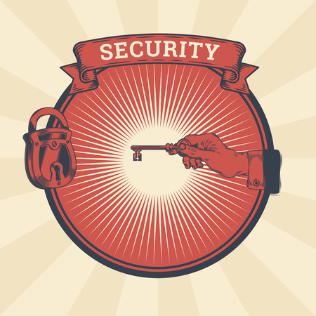Vector vintage illustration of badge, sticker, sign with a male hand holding the key of the locked lock,, the concept of confidentiality, information protection.. Print, template, design element