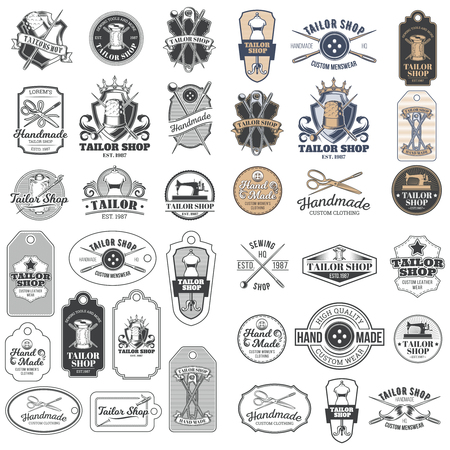 Set of vector vintage tailor badges, stickers, emblems, signage with sewing needles, pins, thimbles, buttons, coils of thread, sewn on tags