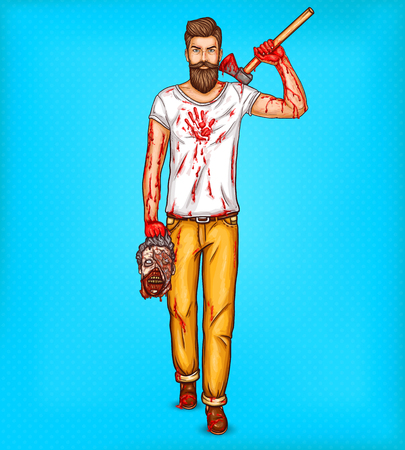 Vector pop art illustration of a brutal bearded man, macho with blood stained ax, bloody streaks and stains on hands holds the head of a dead zombie