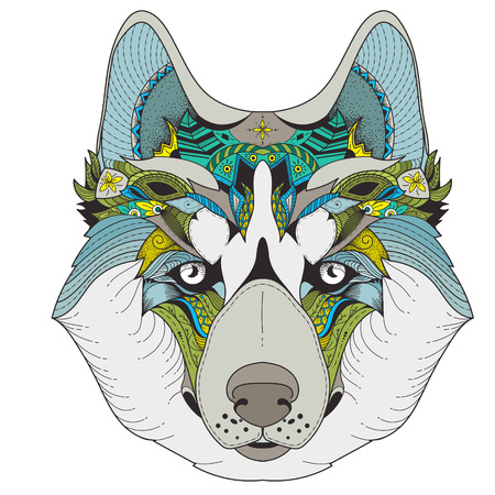 color zenart illustration of husky with tribal mandala patterns. Use for print, t-shirts.