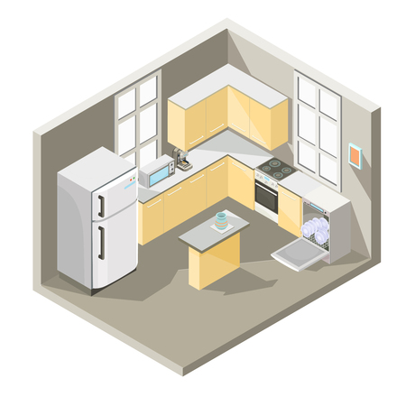 isometric illustration design of a kitchen with dining table, refrigerator, washing machine, a electric cooker, oven, microwave and coffee maker