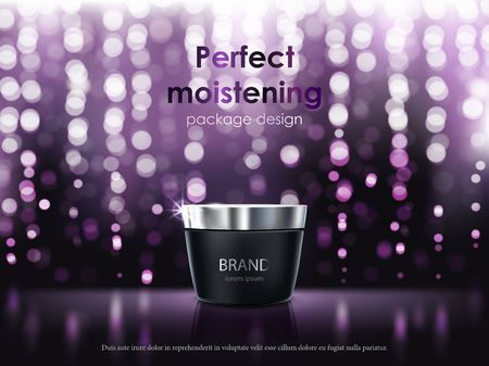 3D illustration for the promotion of cosmetic moisturizing premium product. Matt black jar with the lid closed on a dark purple background with glowing elements