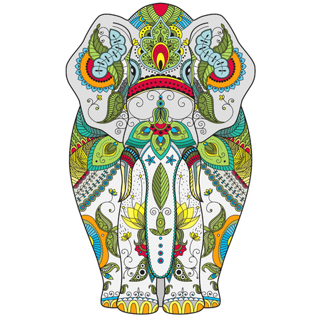 tantra: color zenart illustration of an elephant with ethnic patterns. Use for print, t-shirts. Stock Photo