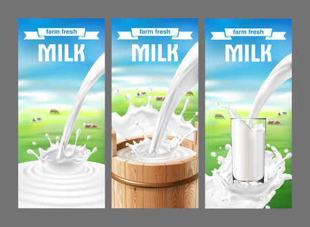 illustration of a set of labels for milk and dairy with milk splash and pouring. Realistic style Stock Photo