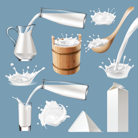 Set of 3D milk splash and pouring, icons traditional packaging for milk and milk products. Realistic style