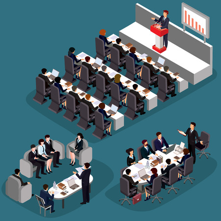 ceo office: illustration of 3D flat isometric business people. The concept of a business leader, lead manager, CEO. Business meeting in a modern office, speaker at a business conference and presentation. Stock Photo