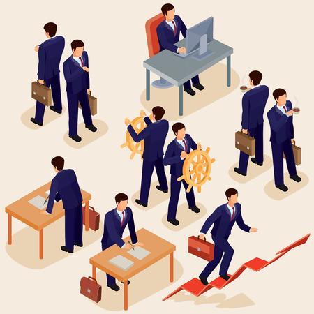 illustratie van 3D-plat isometrische mensen. Het concept van een bedrijfsleider, lead manager, CEO. Baas, zijn visie en persoonlijk succes.