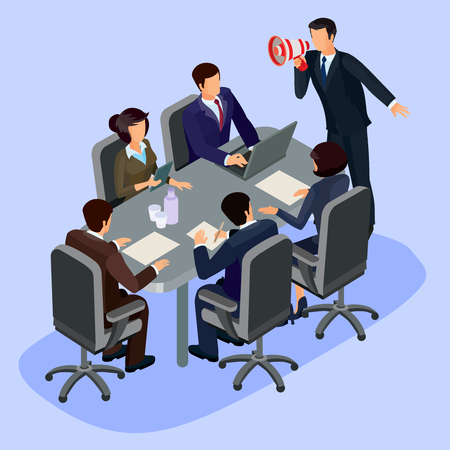ceo office: illustration of 3D flat isometric people. The concept of a business leader, lead manager, CEO. Business meeting in a modern office, speaker at a business conference and presentation. Stock Photo