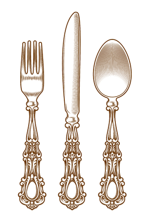 flatwares: illustration set of vintage silver and cutlery