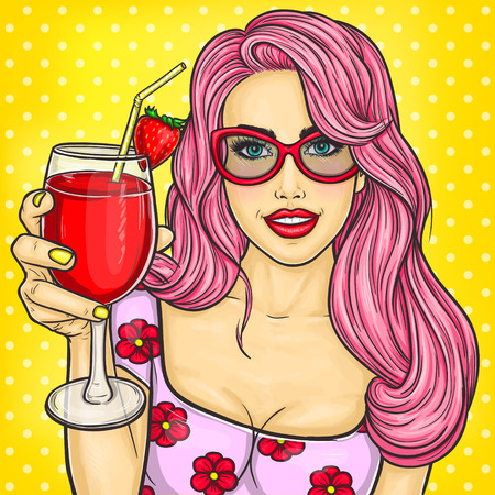 her: illustration of a sexy pop art girl holding a cocktail in her hand