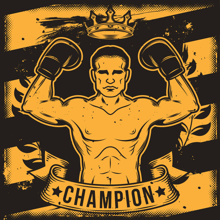 Vector Conceptual motivational poster for a boxing club, boxing hall with a boxer s silhouette. Excellent advertising poster for the championship boxing Vektoros illusztráció