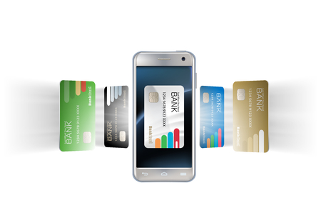 Vector illustration in a realistic style the concept of mobile payments using the application on your smartphone. Illustration of the smartphone and bank cards on white Illustration