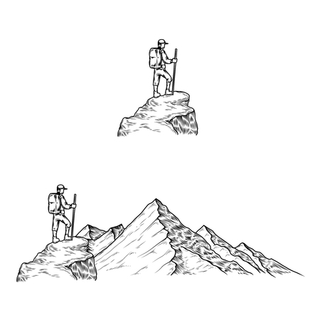 Set of hand drawn vector illustrations the mountains with a tourist in engraving style