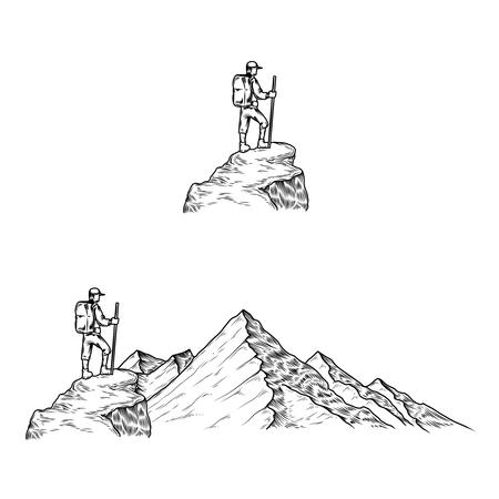 Set van hand getekende vector illustraties de bergen met een toerist in gravure stijl Stock Illustratie