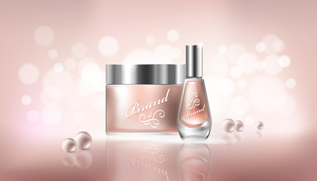 Vector poster in realistic style with transparent glass cosmetic containers for lotion, hand cream and cuticle remover, nail polish on a light beige background with pearls