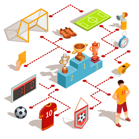 Set of isometric soccer icons - soccer field, ball, whistle, soccer goal, football player, referee hand with yellow card, scoreboard and pedestal winners with prize-winning cups Illustration