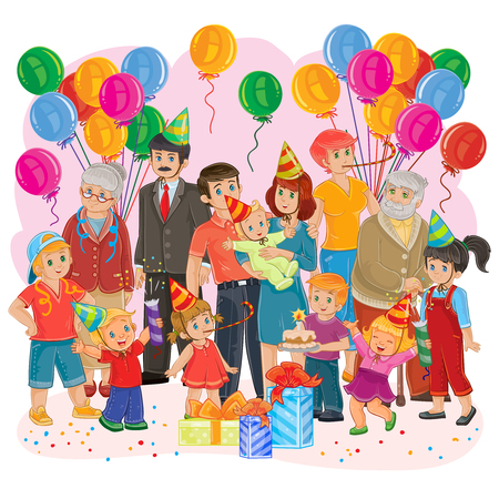 Vector illustration of a big happy family - grandfather, grandmother, dad, mom, daughters and sons, cousins - together celebrate a birthday with gifts, balloons and cake Vectores