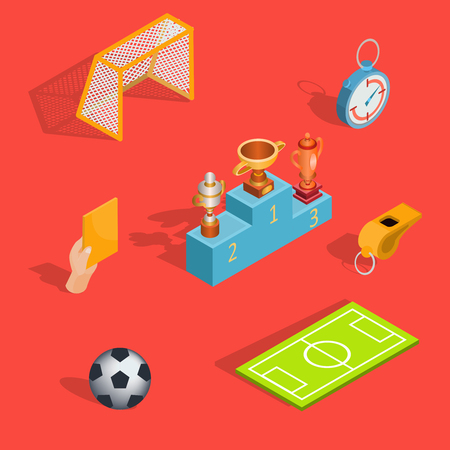 Set of vector isometric soccer icons - soccer field, ball, whistle, soccer goal, referee hand with yellow card, pedestal winners with prize-winning cups Illustration
