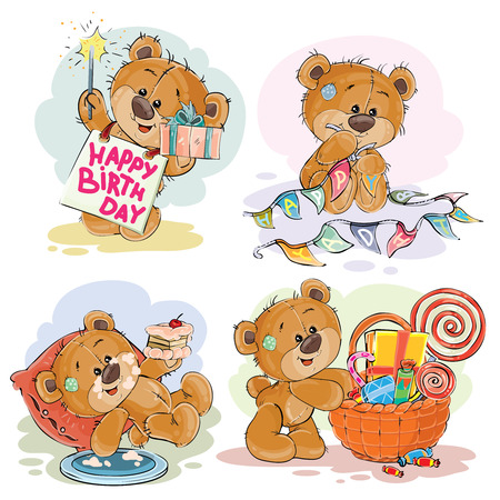 Set of vector clip art illustrations of brown teddy bear wishes you a happy birthday. Print, template, design element for greeting cards Фото со стока - 80149960