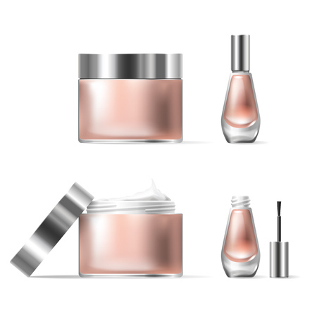Illustration of a realistic style of transparent glass cosmetic containers with open silver lid. Jar for lotion, hand cream and cuticle remover, nail polish Illustration