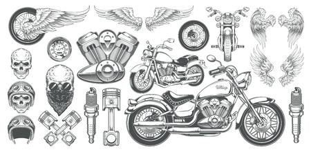 Ensemble d'illustrations, icônes de moto vintage dessinée à la main dans divers angles, crânes, ailes dans le style de la gravure. Classic chopper à l'encre. Impression, gravure, gabarit, élément de conception Vecteurs