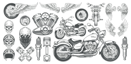 Set of illustrations, icons of hand-drawn vintage motorcycle in various angles, skulls, wings in the style of engraving. Classic chopper in ink style. Print, engraving, template, design element Çizim