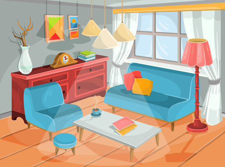 padded: Vector illustration of a cozy cartoon interior of a home room, a living room with a soft armchair, padded stool, sofa, coffee table, chest of drawers and an electric lamp