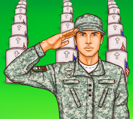 Vector pop art patriotic illustration a male soldier render military salute on the background of rows of grave stones with national flags. Can be used for Independence Day, Memorial Day and Flag Day