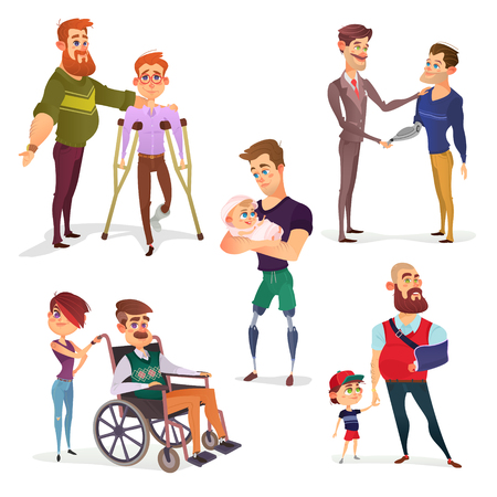 impaired: Set of cartoon illustrations of people with disabilities among others. Men with limited opportunities in a wheelchair, on crutches, with prosthetic legs, with a broken arm, with prosthetic arm Stock Photo