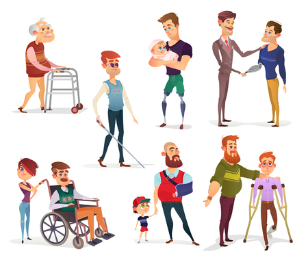 Set of cartoon illustrations of people with disabilities among others. Men with limited opportunities in a wheelchair, on crutches, with prosthetic legs and arm, visually impaired