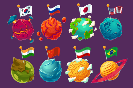 Set of cartoon illustrations fantasy alien planets with fluttering flags on them, funny elements for design different universe