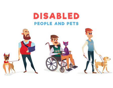 Set of cartoon illustrations of people with disabilities with pets. Men with limited opportunities with special dog-guide, therapy dog and cat Stock Photo